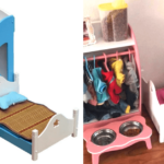 dog bed with built in closet and bowl